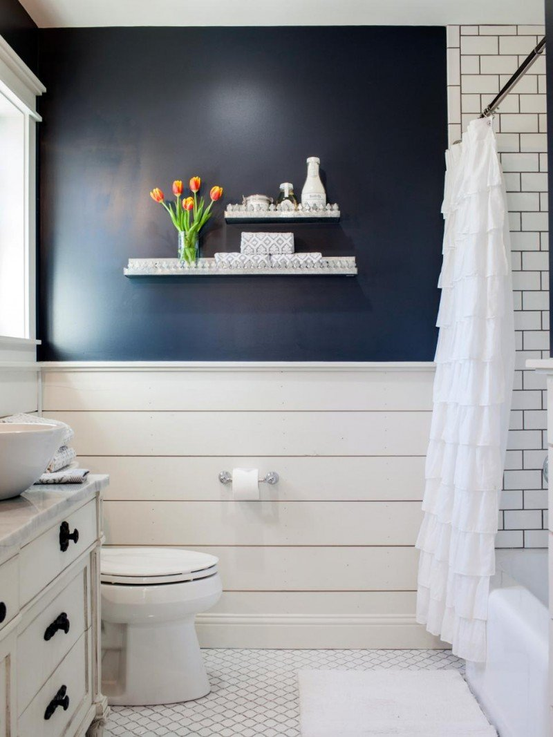 Fixer upper the takeaways a thoughtful place Navy blue and white bathroom