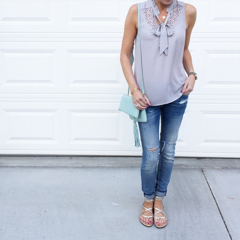 cut out tank and jeans