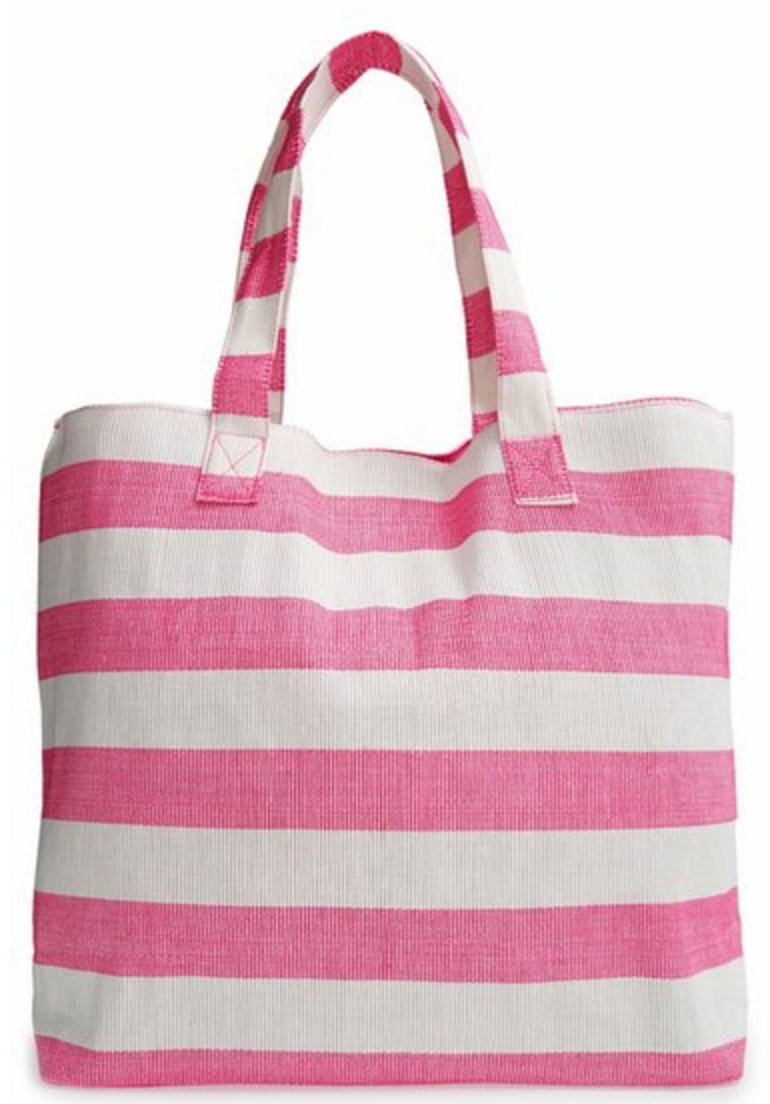 pink and white tote