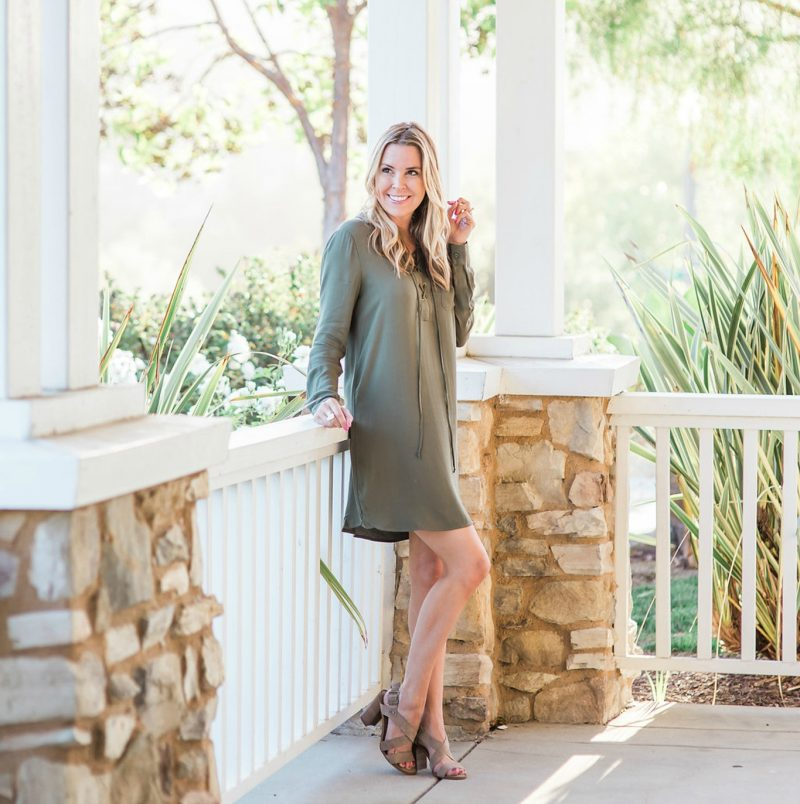 olive dress lace up