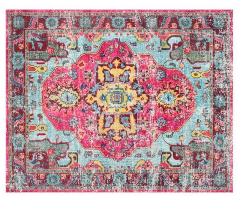 pink and teal rug