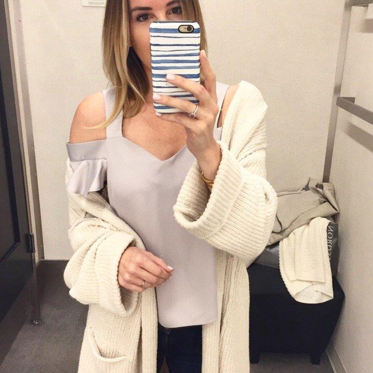 cardigan and tank saturday shopping