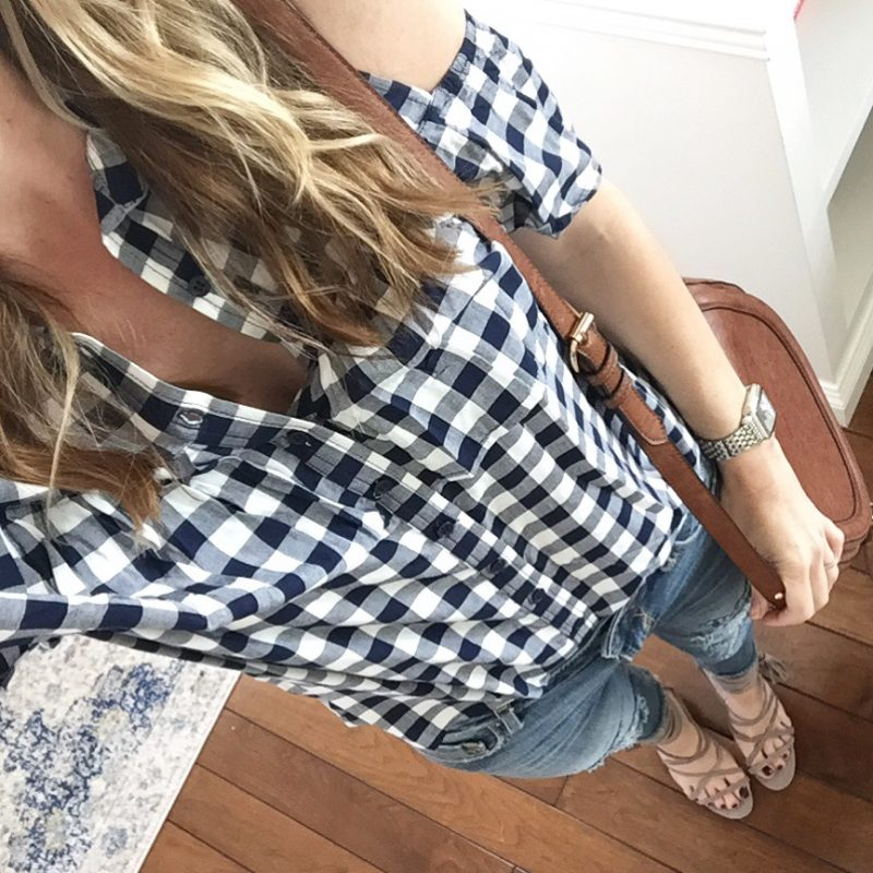 spring steals gingham top