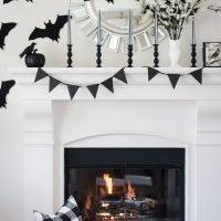 Black & White Halloween Mantel