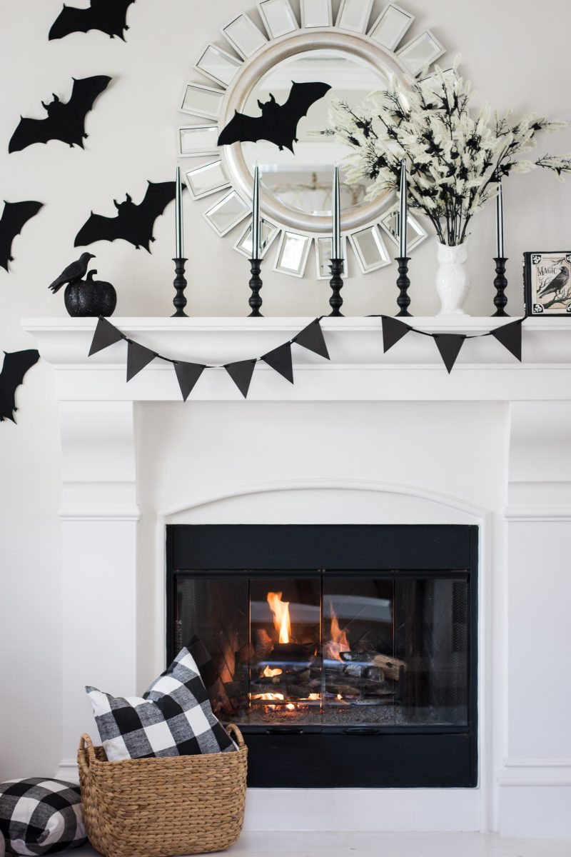 Black & White Halloween Mantel - A Thoughtful Place