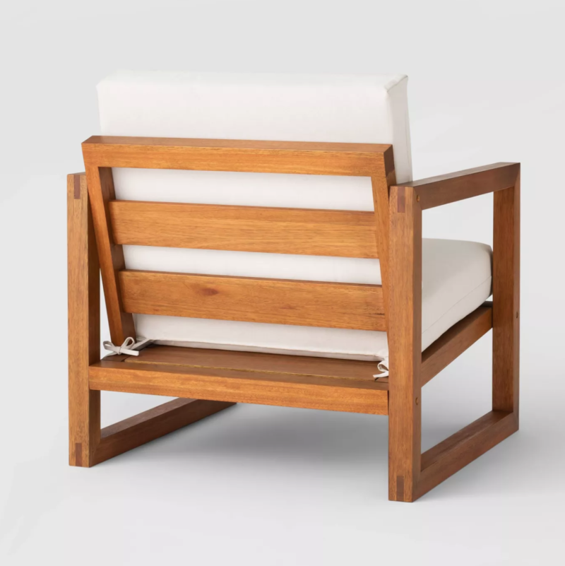 slatted outdoor chair