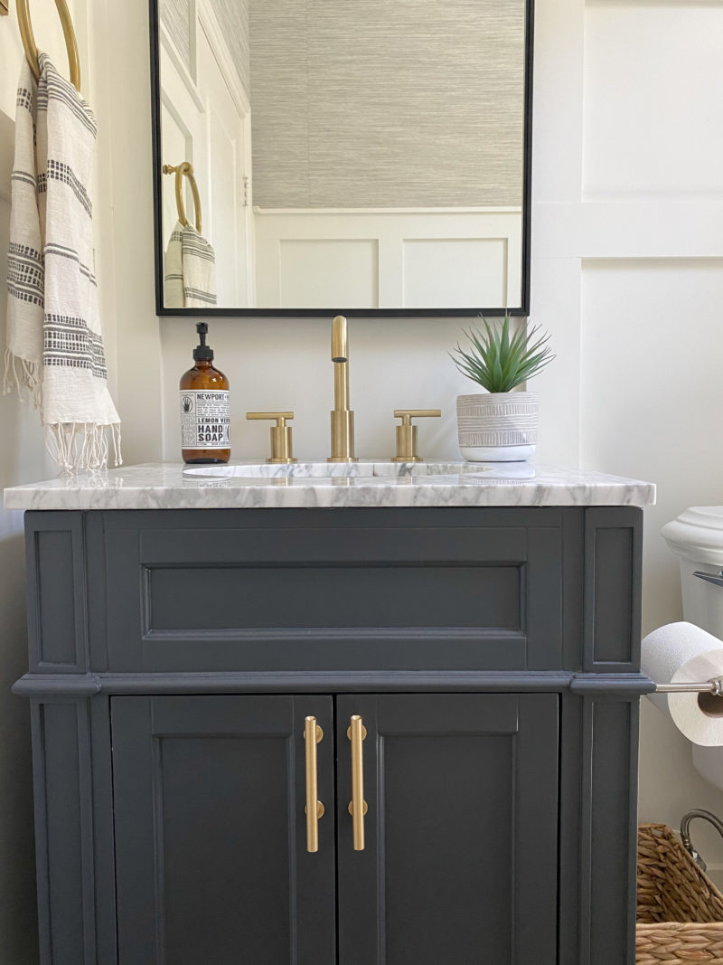 powder room marble vanity