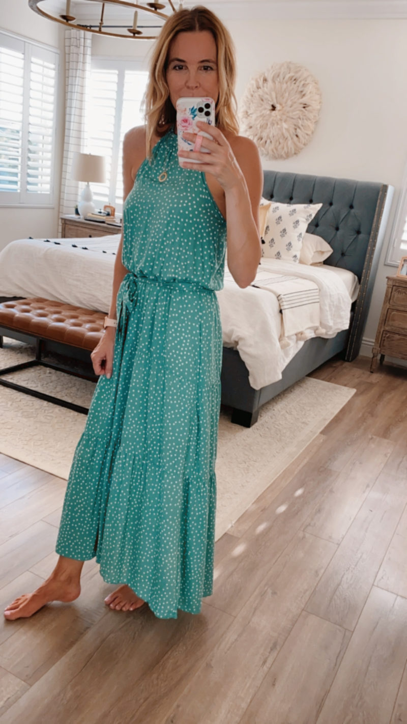halter dress green polka dot