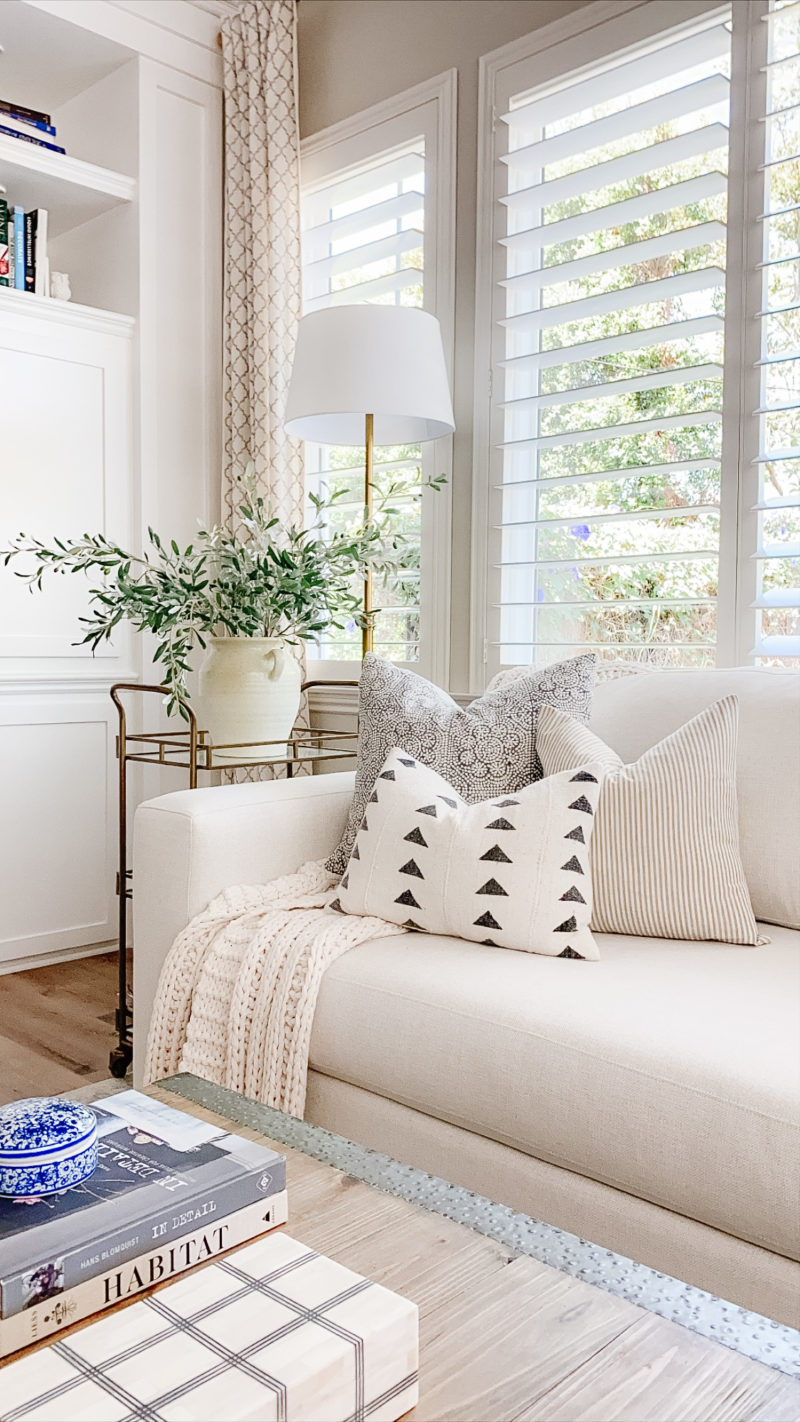 family room layered pillows