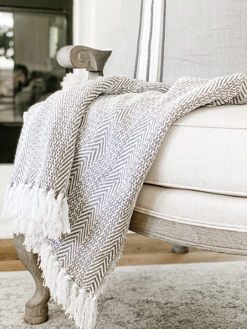 amazon gray and white throw