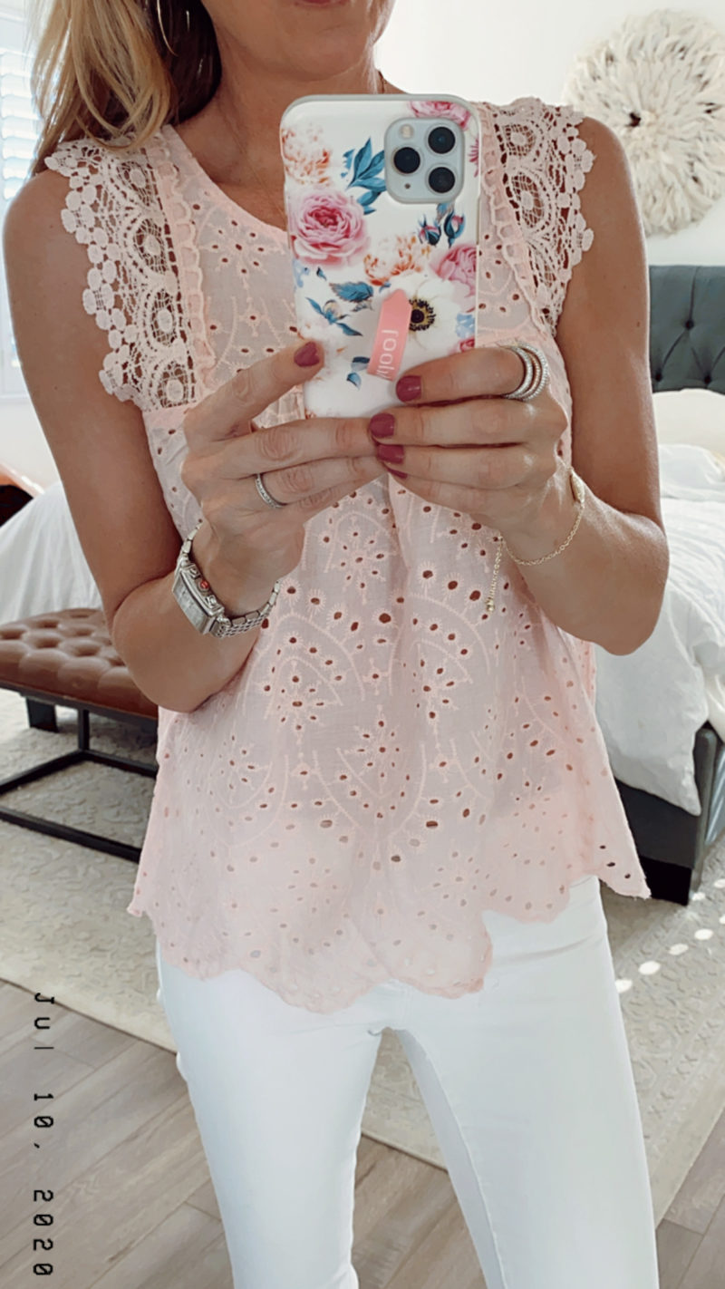 pink lace top saturday shopping