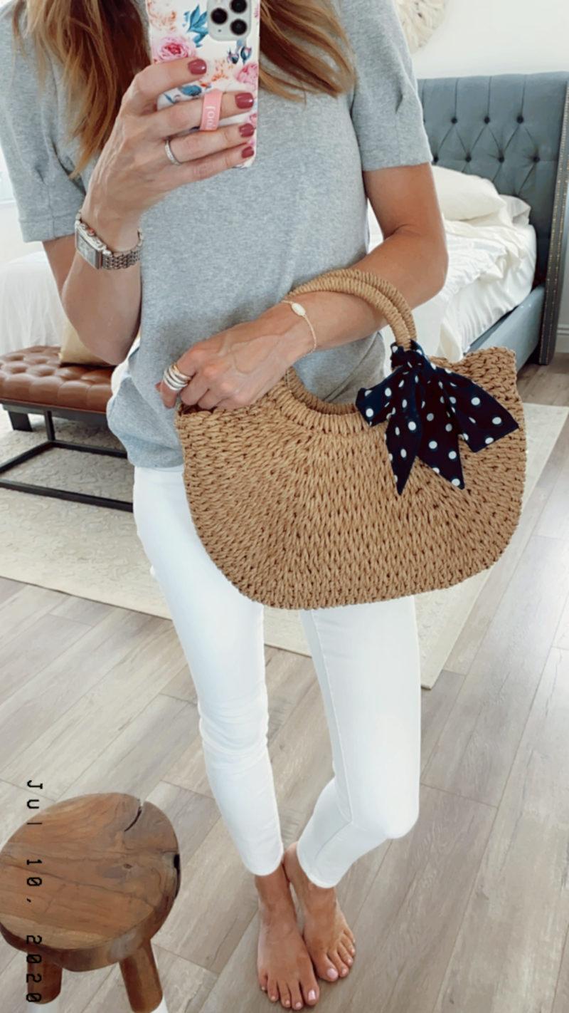saturday shopping straw bag