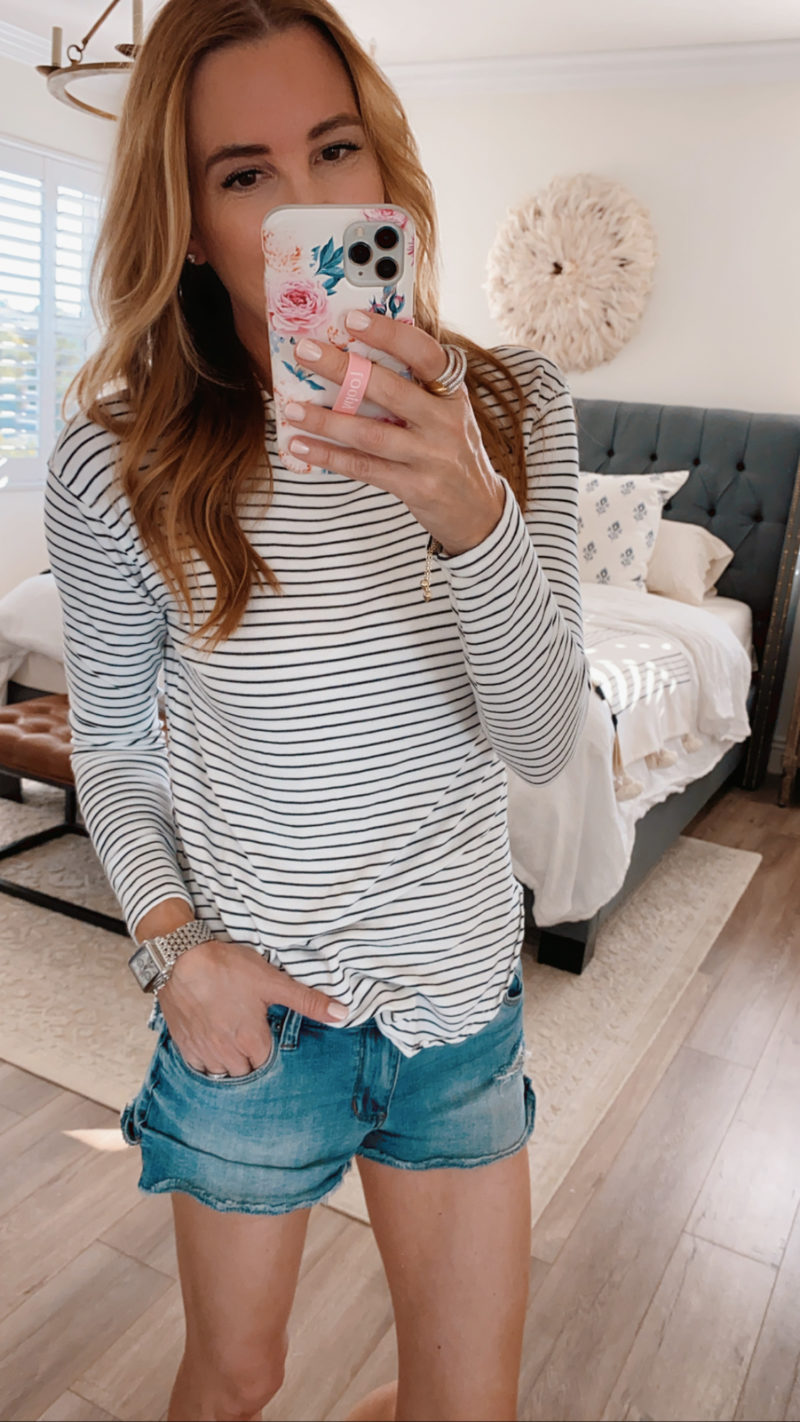 saturday shopping striped pullover