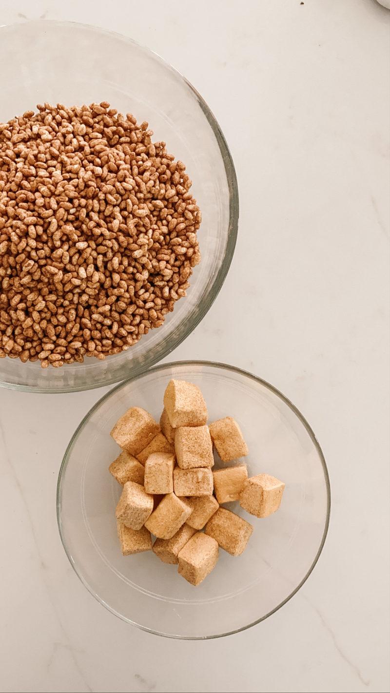 cinnamon churro rice crisp treats