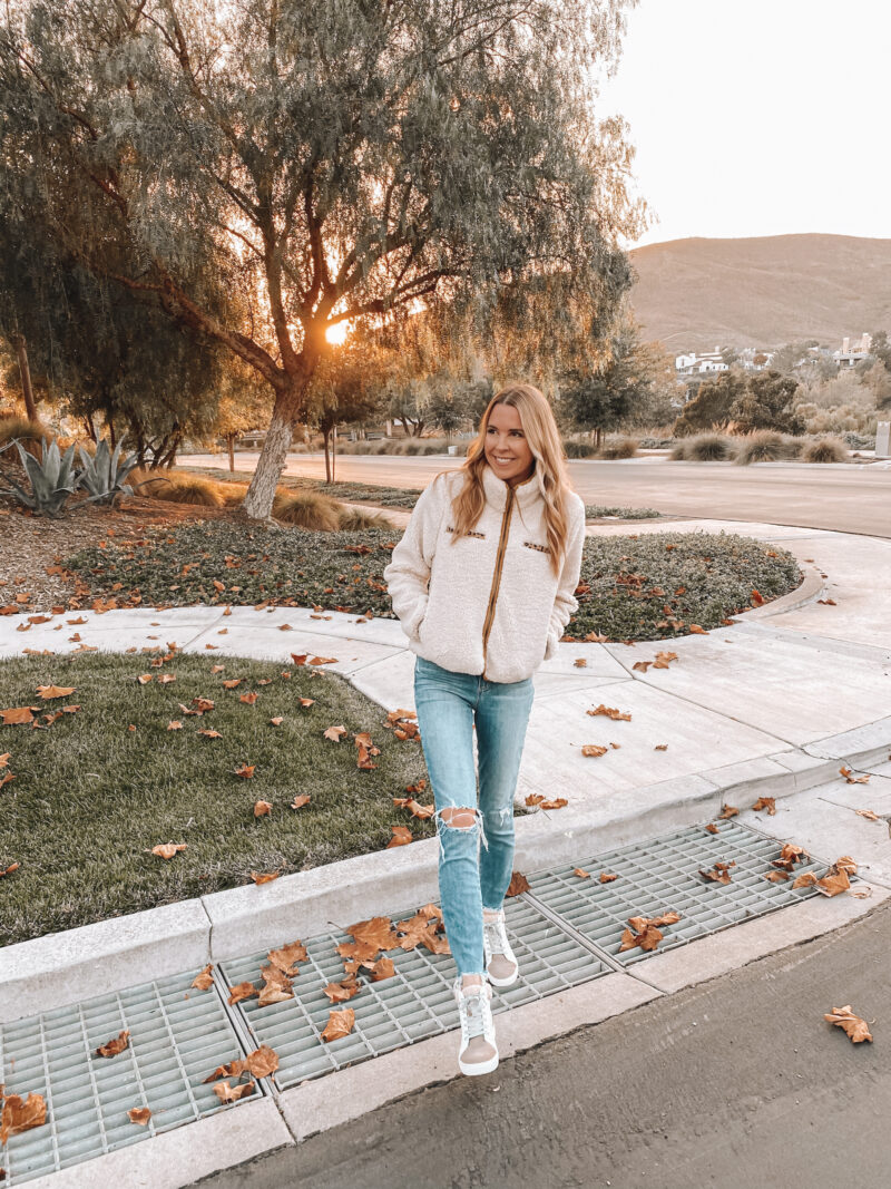 cozy jacket and jeans