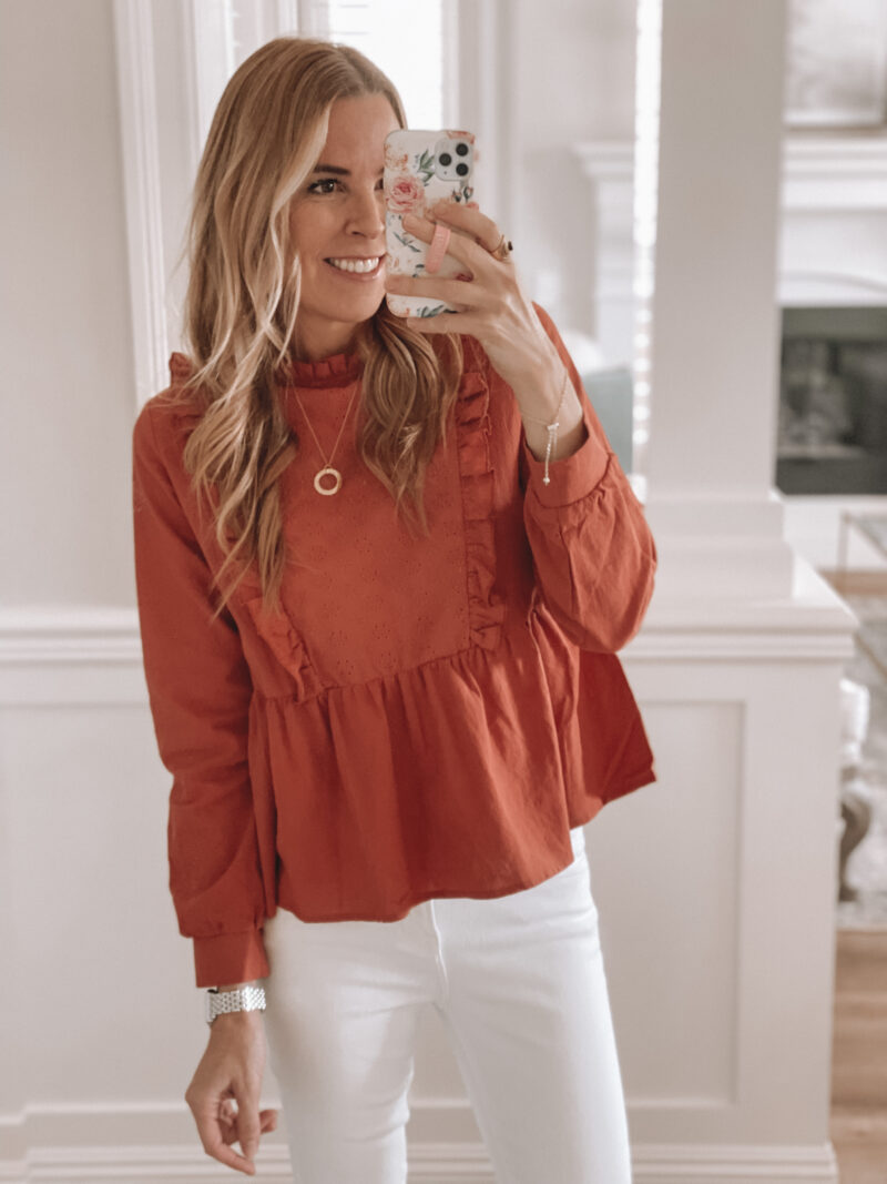 rust brown top