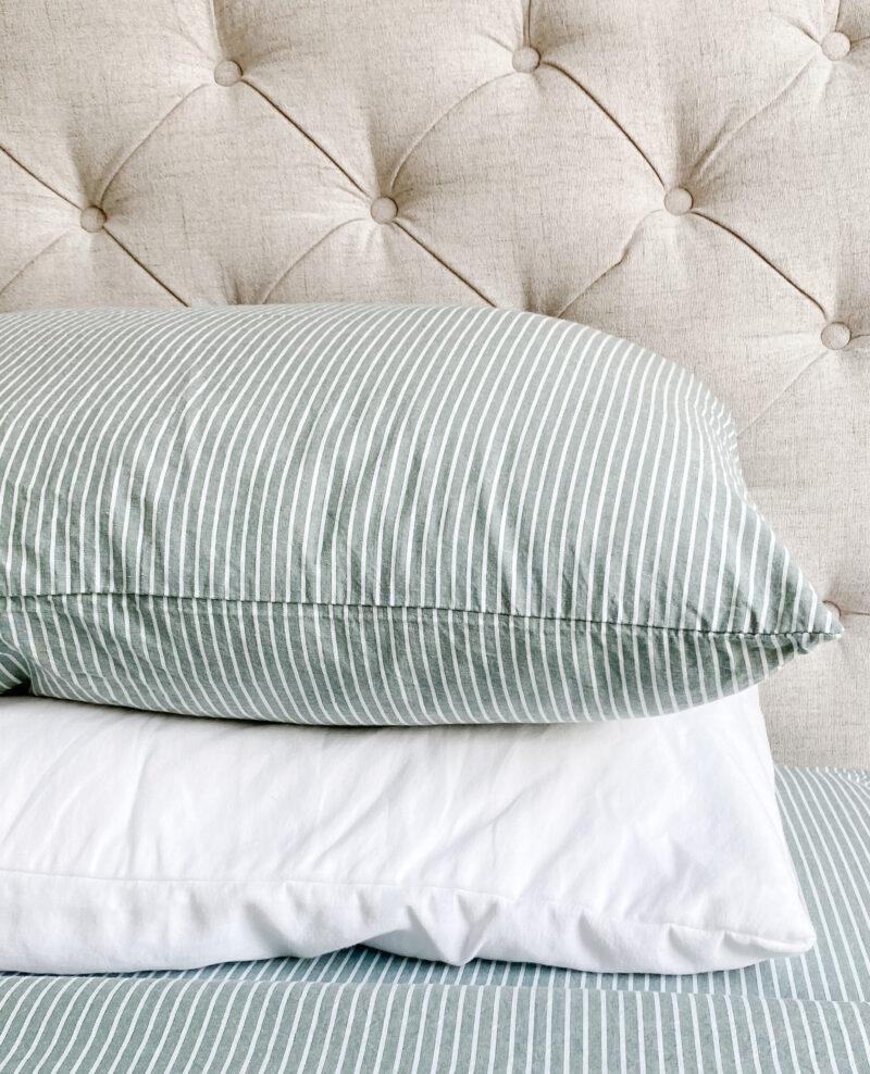 striped green pillows