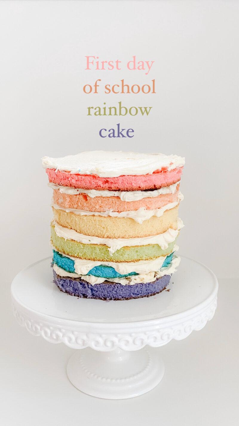 first day of school rainbow cake