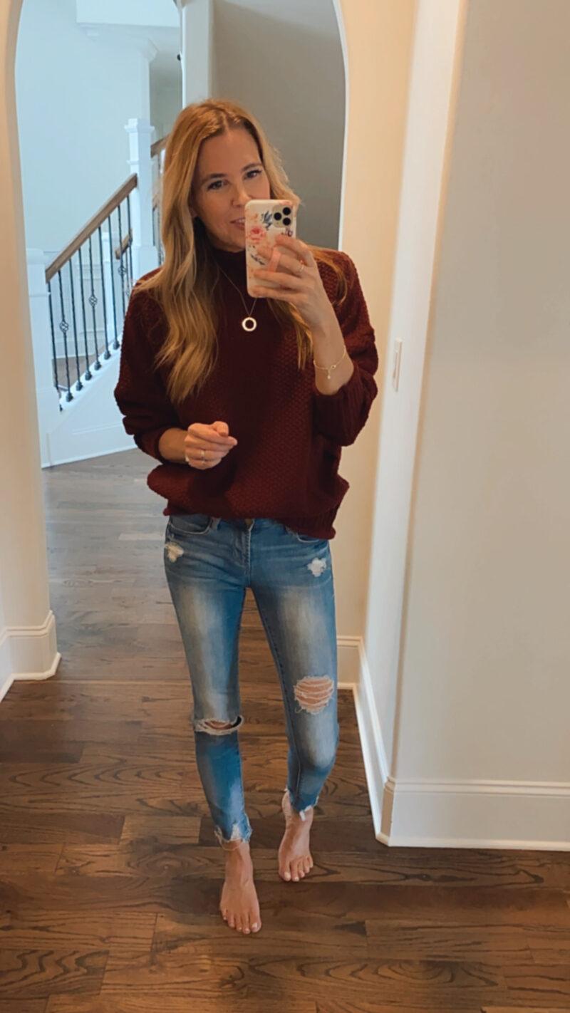 cranberry sweater